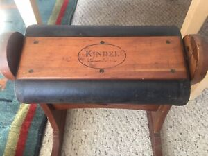 Mid Century Kindel Grand Rapids Wood & Leather Rocking Foot Stool For Boots Vtg