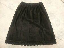 Vintage Christian Dior Black Satin A-line Lacy Half Slip S