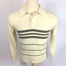 Vtg 1970s Jantzen Mod Retro Knit Polo Sweater Acrylic Shirt M Hippy Surf Stripe