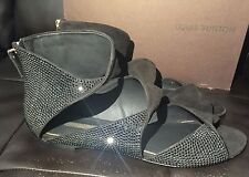 $1325 Louis Vuitton Black Suede Leather Crystal Strass Classy Flats Sandals 40