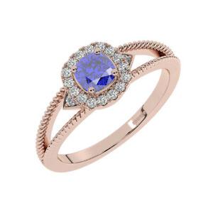 8MM Claw Set Round Brilliant Cut Diamonds, Blue Sapphire Halo Ring 18K Rose Gold