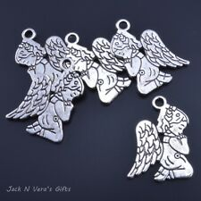 Angel Kneeling Praying - Antique Silver Colour Plated - Crafts Jewellery Making