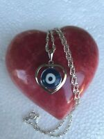 "925 Sterling Silver white Blue CZ Evil Eye Protection Pendant  20""chain"