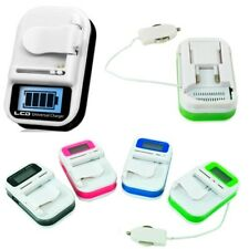 Cargador Bateria Movil Camara Universal con Pantalla LCD para Casa y Coche + USB