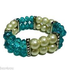 Brazalete Pulsera Modo Joya Pulsera Strass elástica Pulsera de perlas azul