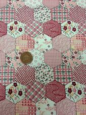 Pink Mock Patchwork Effect 100% Cotton fabric Quilting Craft Dress