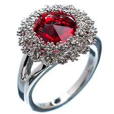 6.16 Ct Round Cut Red Garnet CZ 18K White Gold Plated Wedding Ring Size 8.0
