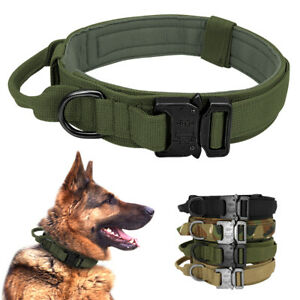 Cobra Tactical Dog Collar With Handle Military K9 Training Adjustable Nylon M-XL