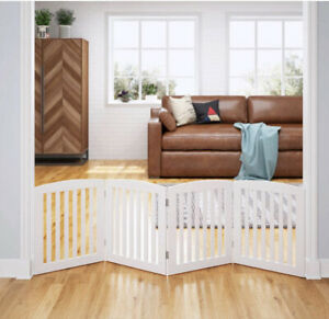 """PAWLAND Wooden Freestanding Foldable Pet Gate (White, 24"""" Height - 4 Panels)"""