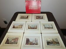 VINTAGE FINE DINING SHERATON LONDON IN 19TH CENTURY SET OF 8 PICTURE PLACE MATS