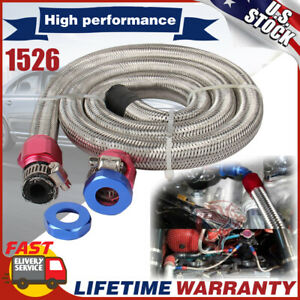 """3/8"""" Hose 3ft. Stainless Steel Braided Fuel Line Kit 1526 New wpith Clamps AN6"""