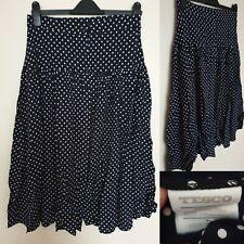 Vintage Tesco Navy Skirt High Waist Polka Dot Flare Viscose A-line UK 16 Button
