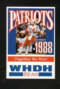 New England Patriots--Steve Grogan--1988 Pocket Schedule--WHDH