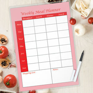 Meal Planner  Laminated Portrait with free pen A4 - Magnetic available