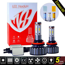 LED Headlight Kit H8 H9 H11 Bulbs Hi/Low Beam Light 60W 7200LM 6000K 3Colors DIY
