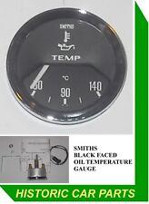 "SMITHS OIL TEMPERATURE GAUGE - 50-140 Centigrade Black FACE - ""OIL Temp"""