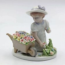 NADAL Fine Porcelain Figurine - Girl With Flower Wagon  CG-2102