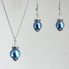 Sky blue pearl crystal necklace earrings wedding bridesmaid silver jewellery set