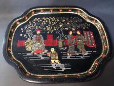Ancien plateau de service en métal vintage décor japonisant déco cuisine table