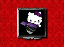 HELLO BAT KITTY VAMPIRE PSYCHOBILLY GOTH MAKEUP POCKET COMPACT MIRROR