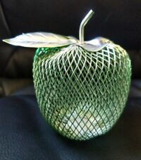 "Wire Mesh Metal 3"" green Apple Figurine Desk Teacher Gift Kitchen Fruit Decor BA"