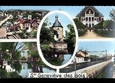 SAINTE-GENEVIEVE-des-BOIS (91) TRAIN en GARE ,MAIRIE , VILLAS & DONJON en 1965