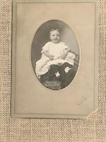 "Antique Cabinet Card Photo of a Baby Infant Child 6"" X 8"" Quincy Illinois"