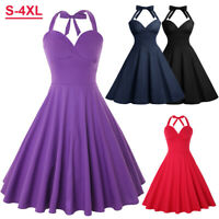 50s Vintage Women High-Waist Rockabilly Halter Swing Dress Summer Party Cocktail