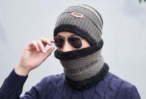 Men's Winter Beanie Hat and Scarf Set Warm Fleece Knitted Cap Unisex UK Seller
