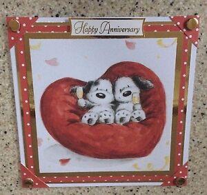 Handmade Anniversary card cute dogs puppies couple red heart Wedding Anniversary
