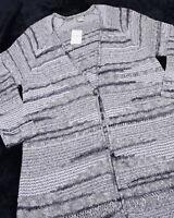 LUCKY BRAND Womens Cardigan Sweater Navy Cream 3X 60% Cotton Blend NEW NWT