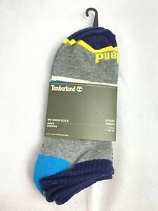 Timberland Striped Blue/Yellow/Gray 2 Pairs No Show Men's Socks A1ECC-J38