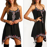Women Boho Tribal Print Sleeveless Beach Sundress Casual Asymmetrical Mini Dress