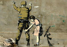 Banksy girl searching soldier 8X12 canvas print street art graffiti reproduction