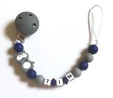 Schnullerkette Nuckelkette aus Silikon mit Namen Wunschname grau dunkelblau