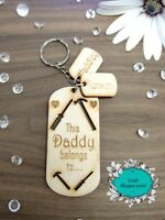 Personalised Wooden Keyring, Daddy, Dad, Grandad, DIY, Tools, Christmas, Gifts