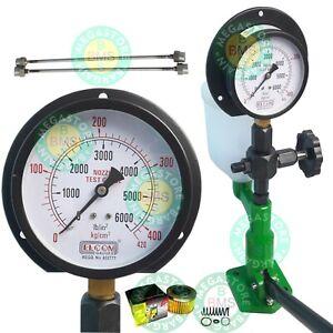 Diesel Injector Nozzle Tester Pop Pressure Tester Dual Scale BAR / PSI Gauge Grn