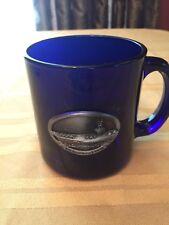 USS Ronald Reagan Cobalt Blue Glass Coffee Mug Pewter Aircraft Carrier Emblem