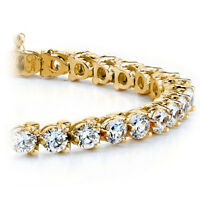 Diamond Tennis Bracelet 3.00 CT Round Cut 14k Yellow Gold Natural Certified Gift