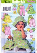 BUTTERICK SEWING PATTERN 5624 BABY NB-M DRESS, PINAFORE JUMPSUIT ROMPER TOP BAG,