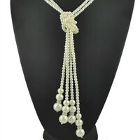 White Jewelry Women Knot Necklace Fashion Long Sweater Chain Pearls Multilayer