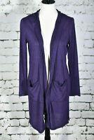 CHICO'S Zenergy Size 1 (8) Medium Cardigan Deep Purple Open Front Hooded Long