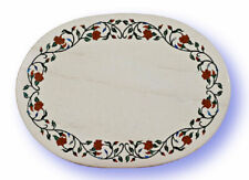 3'x2' Black Marble Dining Table Top Inlay Carnelian Floral Handmade Decors B778