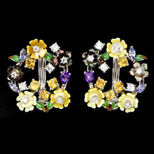 TANZANITE CITRINE AMETHYST CARVED MOTHER OF PEARL .925 STERLING SILVER EARRINGS