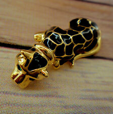 Gale Haymen Beverly Hills Lucky Hand Enameled Leopard Pin Brooch Original Box