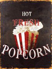 "TIN SIGN ""Hot Fresh Popcorn""  Snack Food  Art Deco Garage Wall Decor"