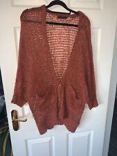 Ladies Orange Knitted Batwing Oversized Cardigan Top Size 8-12