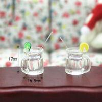 2Pcs dollhouse model miniature food playing mini lemonade cup LJ