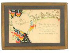 "Antique Deco Valentine'S Day Card To My Father Framed Ephemera Sweet 7"" x 5"""