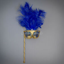 Handheld Stick Venetian Masquerade Mask for Women M6150 - Gold/Royal Blue